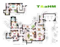 Two And A Half Men villas�n�n plan�, 120 m2 ev plan� ve 65 m2 ikinci kat ev plan�